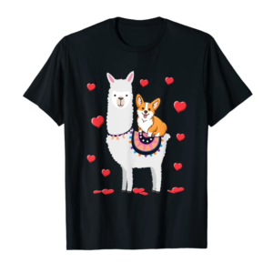 Cool Corgi Riding Llama Heart Gift For Valentines Day Funny T-Shirt
