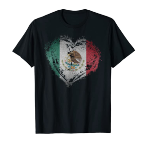 Order Now Vintage Mexico Heart Shape Mexican Flag Stylish Design T-Shirt